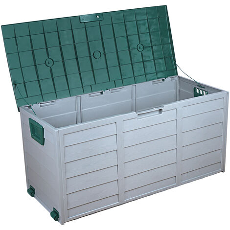 "main image of ""Outdoor garden furniture patio storage box plastic waterproof storage box with two-wheel swimming pool balcony Green - Green"""