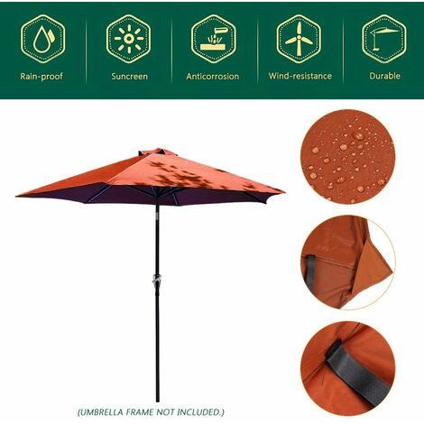 Outdoor Garden Parasol Cover Yard Patio Umbrella Fabric 100 * 195 * 160cm WASHED