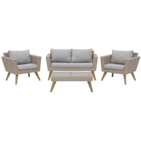 "main image of ""Outdoor Garden Patio Rattan Conversation Set Loveseat Chairs Taupe Vittoria"""