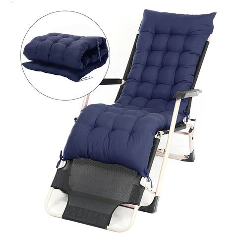 Outdoor Garden Pation Recliner Deck Chair Seat Cushions Pad,Blue