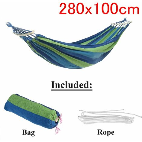 Outdoor Garden Portable Canvas Hammock Travel Camping Balan? Oire Hanging Chair Bed (Blue, Type A Hammock With Wooden Stick (280x100cm))
