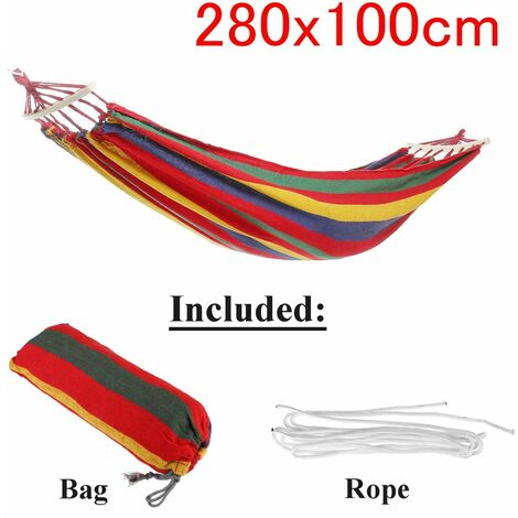 Outdoor Garden Portable Canvas Hammock Travel Camping Balan? Oire Hanging Chair Bed (Red, Type A Hammock With Wooden Stick (280x100cm))