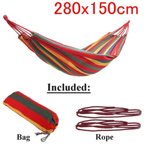 Outdoor Garden Portable Canvas Hammock Travel Camping Swing Chair Hanging Bed (Red, Type B Hammock (280x150cm))