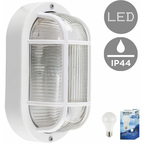 Outdoor Garden Security Bulkhead Wall Light IP44 Rated + 10W LED GLS Bulb - White - White