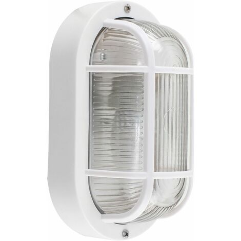 Outdoor Garden Security Bulkhead Wall Light - IP44 Rated - White - White
