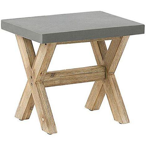 Outdoor Garden Stool Patio Seat Fibre Concrete Acacia Wood Base Grey Olbia