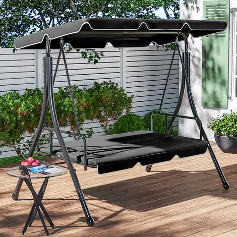 Outdoor Garden Swing Chair Foldable 2-in-1 Hammock Canopy Bench, Beige
