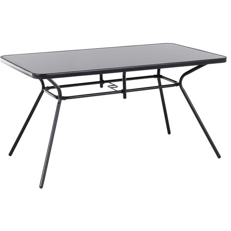 """main image of """"Outdoor Garden Table Black Powder Coated Steel Square Tabletop 140 x 80 cm Livo"""""""