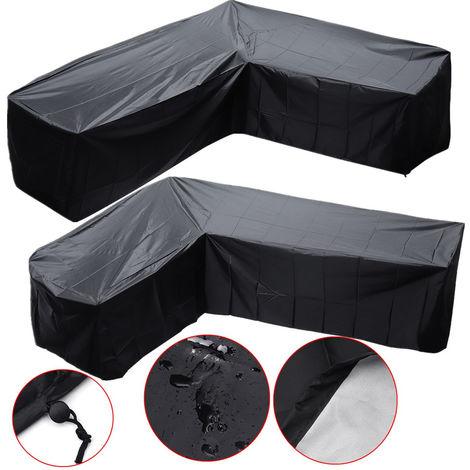 Outdoor Garden Waterproof Furniture Corner Cover Rattan L Shape Sofa Protector