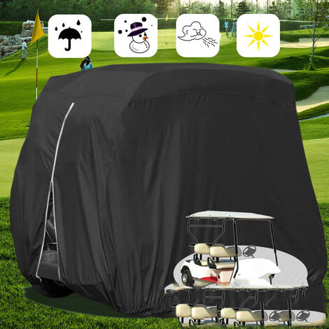 """main image of """"Outdoor Golf Cart Cover Compatible with EZ GO,Club Car, Yamaha, Movaland Custom Cart Cover with Material + Extra PVC Coating Waterproof Dust Prevention (275x122x168cm)Black"""""""