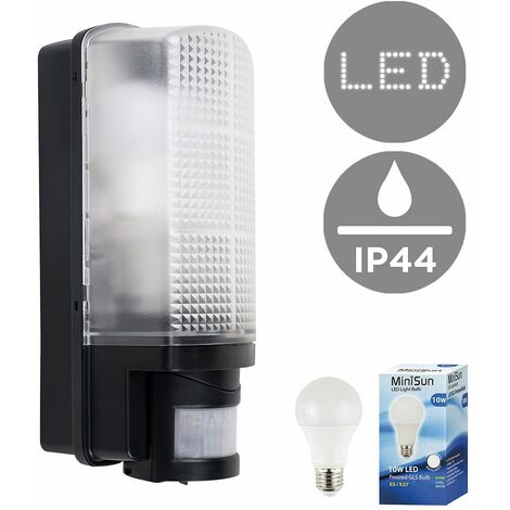 Outdoor Heavy Duty Plastic IP44 Rated 110 Degree Movement Sensor Bulkhead Security Wall Light - Equipped with PIR Motion Detector - 10W LED GLS Bulb