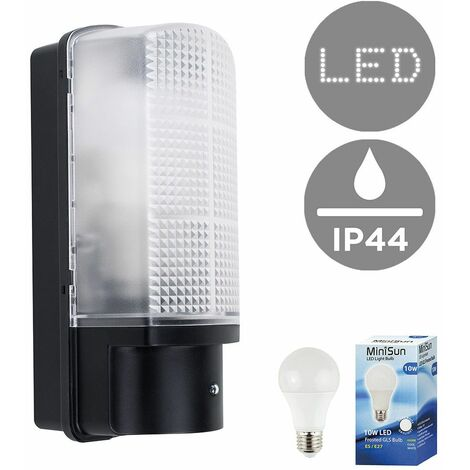 Outdoor Heavy Duty Plastic IP44 Rated Dusk To Dawn Bulkhead Security Wall Light - 10W LED GLS Bulb - Warm White - Black