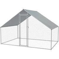 Outdoor-Hühnerkäfig Verzinkter Stahl 3 x 2 x 2 m