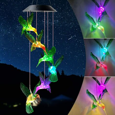 Outdoor Hummingbird Wind Chimes LED Solar Fairy Lights for Festive Decoration Home Garden Mother Best Gift Form Son/Daughter Friend Neighbor Housewarming Gift