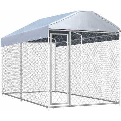 Outdoor-Hundezwinger mit Überdachung 382x192x235 cm