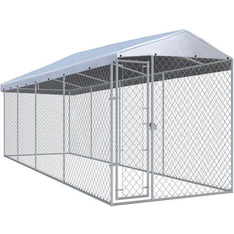 Outdoor-Hundezwinger mit Überdachung 7,6×1,9x2,4 m