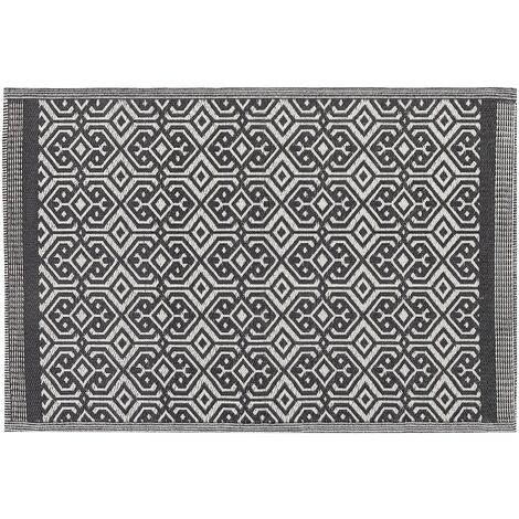 Outdoor Indoor Area Rug Mat 120 x 180 cm Black White Geometric Pattern Barmer