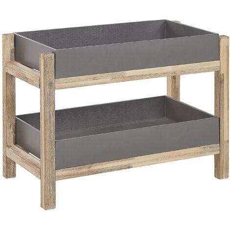 Outdoor Indoor Shelving Unit Grey Concrete Tray Shelves Acacia Wood Legs Oleina