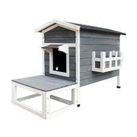 Outdoor Indoor Wooden Cat House Cat Shelter Feral Cave Weatherproof with Terrace