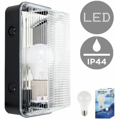 Outdoor Ip44 Anti Vandal Plastic Bulkhead Wall Light + 10W LED Gls Bulb - Cool White