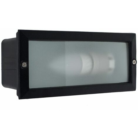 Outdoor Ip54 Black & Frosted Glass Brick Light + 4W LED Es E27 Candle Bulb - Cool White