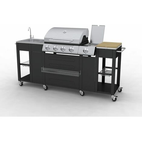 Outdoor Kitchen Barbecue Montana 4 Burners - Black