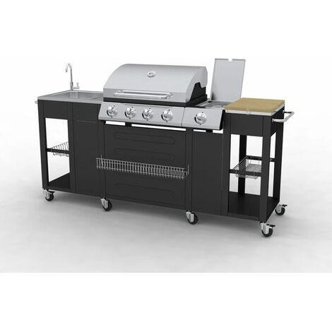 Outdoor Kitchen Barbecue Montana 4 Burners - Black