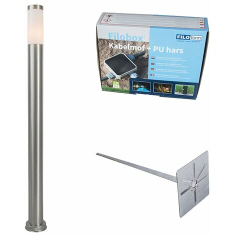 Outdoor lamp post steel 110 cm IP44 - Rox with ground pin and cable sleeve