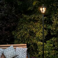 Outdoor Large Black Solar Security Lamp Post, Warm White LEDs, 2.1m