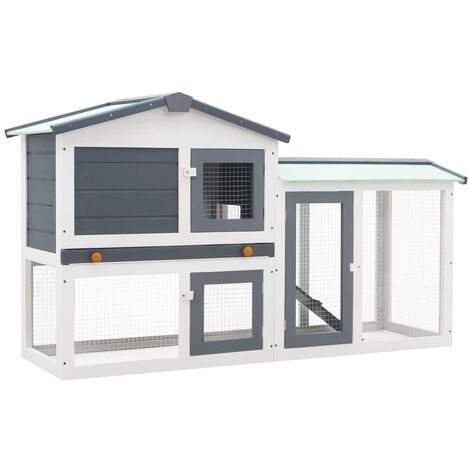 Outdoor Large Rabbit Hutch Grey and White 145x45x85 cm Wood - Grey