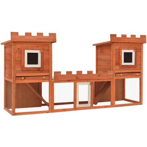 Outdoor Large Rabbit Hutch House Pet Cage Double House - Brown