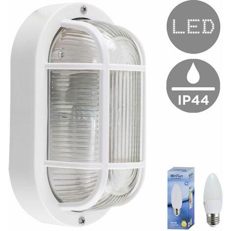 Outdoor LED Bulkhead Wall Light Ip44 Lantern Black White Lighting