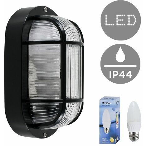 Outdoor LED Bulkhead Wall Light Ip44 Lantern Black White Lighting - Black