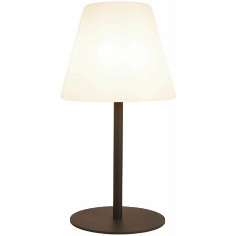 Outdoor led table lamp conical shade pc dark gray white