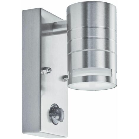 Outdoor led wall light and porch gu10 led 1 bulb frosted glass in stainless steel
