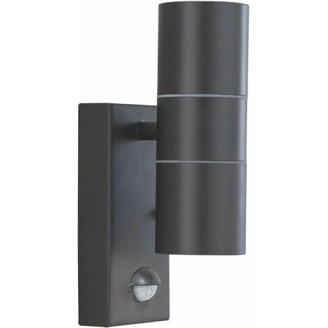 Outdoor led wall light and porch gu10 led ip44 2 black bulbs + sensor tube