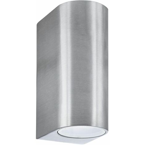 Outdoor led wall light and porch gu10 led ip44 2 silver bulbs