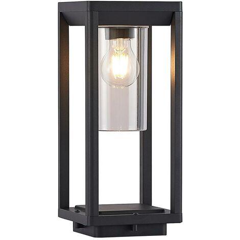 "main image of ""Outdoor lights 'Estami' (modern) in Black made of Aluminium (1 light source, E27) from Lindby   pillar lights, garden light, path light, bollard light, path lamp, pillar light"""
