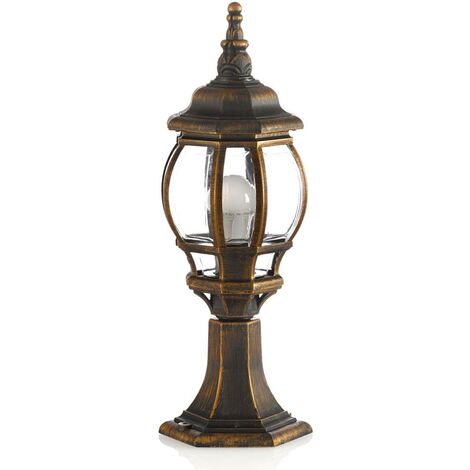 Outdoor lights 'Nadesha' dimmable (antique, vintage) in Gold (1 light source, E27, A++) from Lindby | pillar lights, garden light, path light, bollard light, path lamp, pillar light