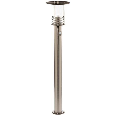 Outdoor lights with Sensor 'Miko' (modern) in Silver made of Stainless Steel (1 light source, E27, A++) from Lindby | garden light, path light, bollard light, path lamp, pillar light