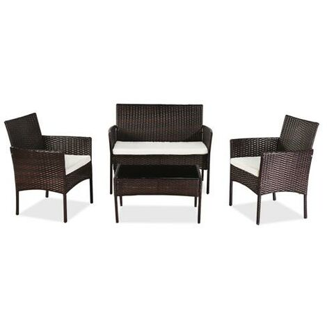 Outdoor Living Room Balcony Rattan Furniture Four-Piece-Brown