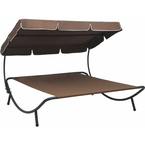 Outdoor Lounge Bed with Canopy Brown - Brown