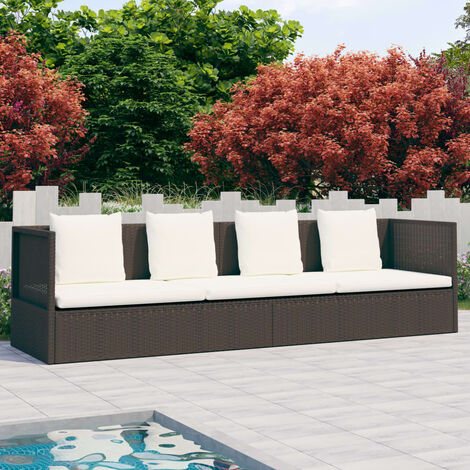 Outdoor-Lounge-Bett mit Polster & Kissen Poly Rattan Braun