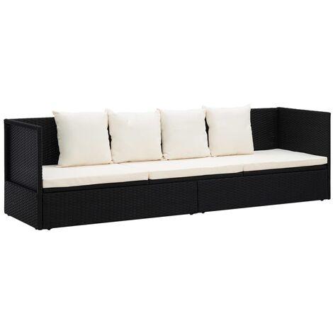 Outdoor-Lounge-Bett mit Polster & Kissen Poly Rattan Schwarz