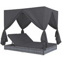 Outdoor-Lounge-Bett mit Vorhängen Poly Rattan Grau