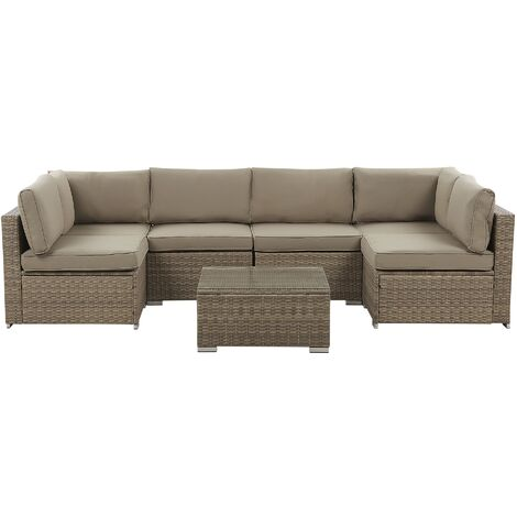 Outdoor Lounge Set Modular Sofa Cushions Coffee Table Faux Rattan Brown Belvedere