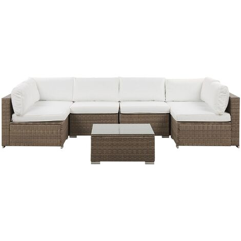 Outdoor Lounge Set Modular Sofa Cushions Coffee Table Faux Rattan White Belvedere