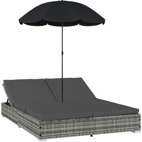 Outdoor-Loungebett mit Sonnenschirm Poly Rattan Grau