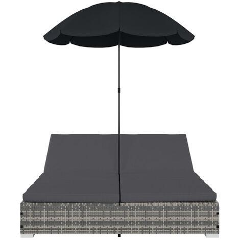 Outdoor-Loungebett mit Sonnenschirm Poly Rattan Grau - 48125DE