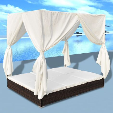 Outdoor-Loungebett mit Vorhang Poly Rattan Braun